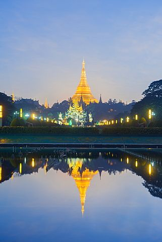 Shwedagon Pagoda, the most sacred Buddhist pagoda in Myanmar, Yangon (Rangoon)…