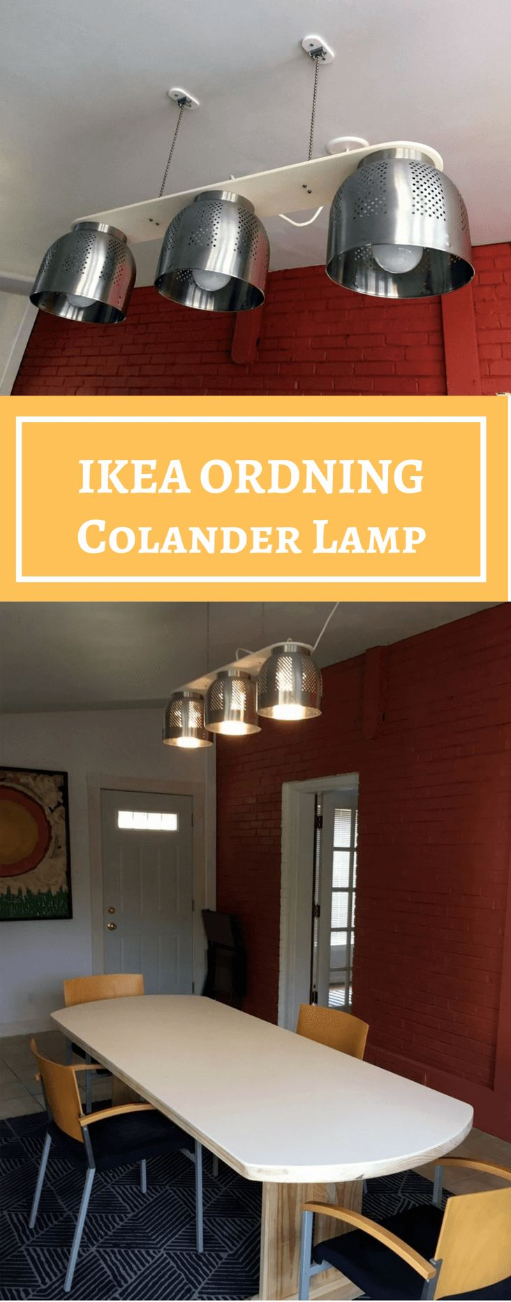 A Colander Chandelier, a modern dining table light http://www.ikeahackers.net/2017/10/colander-chandelier-modern-dining-table-light.html