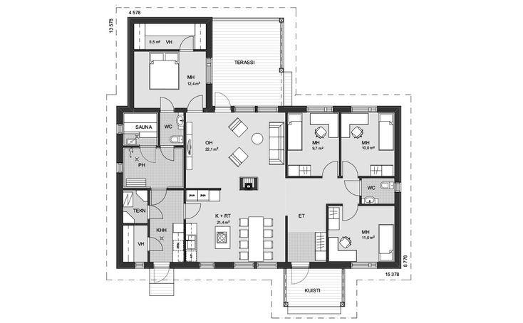 Yksikerroksinen koti, jossa riittää säilytystilaa vaikka vähän suuremmankin perheen tarpeisiin. Neljä makuuhuonetta, joista suurin sijaitsee omassa rauhassaan talon toisella reunalla ja jossa on iso vaatehuone. Huoneesta on oma käynti wc- ja pesutiloihin. Olohuoneen  erottaa keittiöstä tunnelmallinen tulisija, ja tilasta on kulku takapihan katetulle terassille. Kodinhoitohuoneessa on oma vaatehuone ja uloskäynti etupihalle.