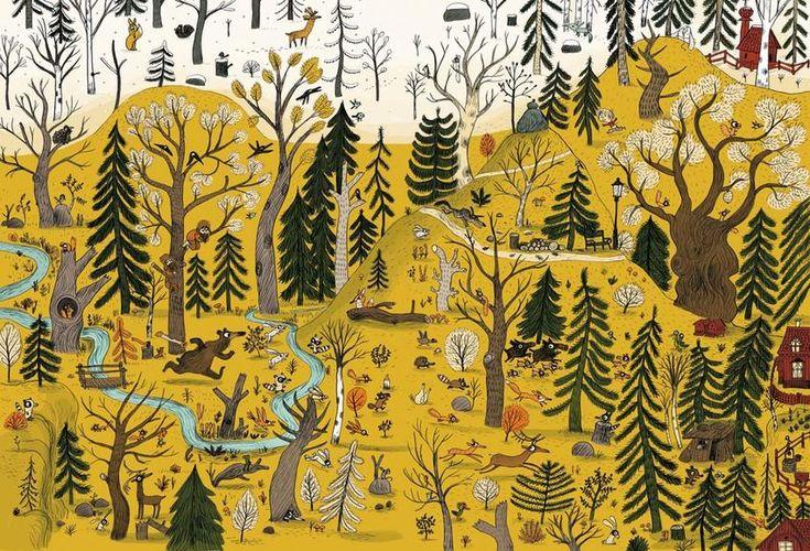 Dans la forêt - Illustration tirée de lalbum Une chanson dours écrit et illustré par Benjamin Chaud, publié aux Éditions Hélium.