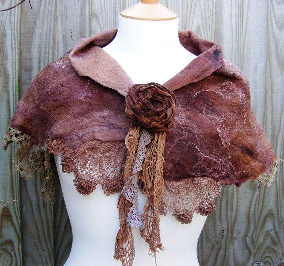 Pagan Shawls Wicca Witch:  Velvet Brown Woodland Vintage Lace Nuno Felt #Shawl.