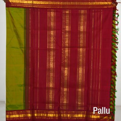 Parrot Green with maroon border madisaar