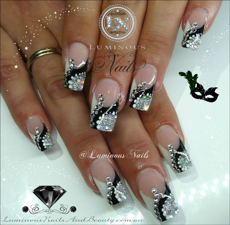 Black, White & Silver Nails with Crystals...
