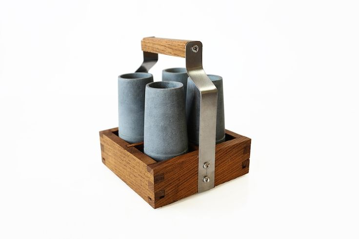 Shot glasses made from stone complete with wooden caddy. Each stand 85mm high (capacity  60 ml). Place in the freezer, remove, add beverage of choice & serve. A$64.99