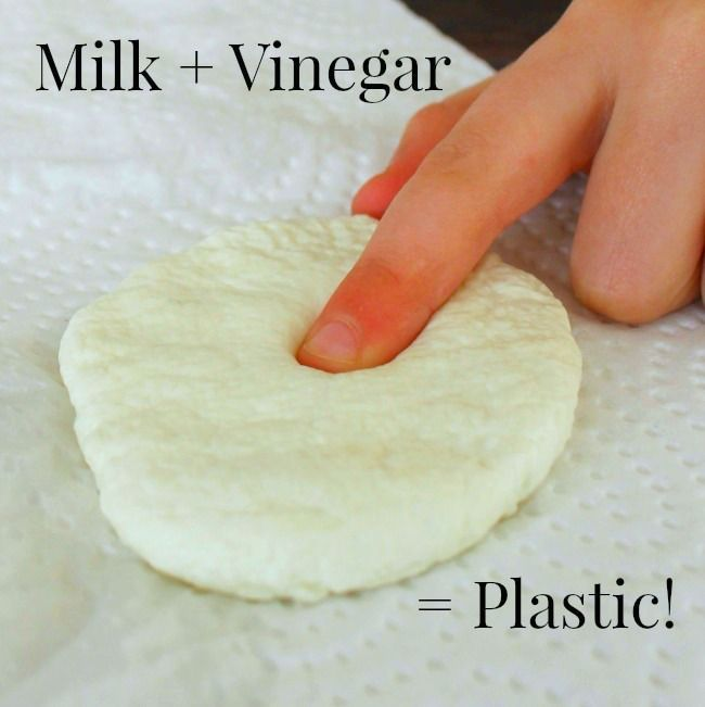 Turn milk into plastic with vinegar! Such a cool science experiment for kids, preschoolers and adults too