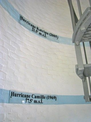 Biloxi lighthouse Flood Markers from Hurricane Camille and Hurricane Katrina.