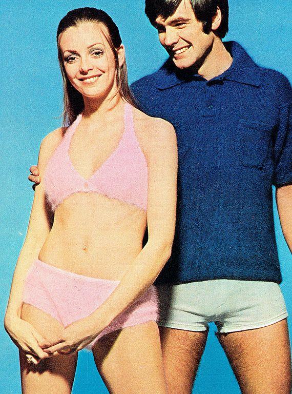 PDF Vintage 1970s Womens Ladies Halter Bikini Poncho Knitting
