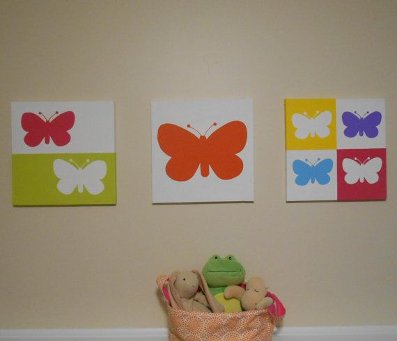 Butterfly Nursery Art Modern Pop Art Canvas Hand Painted Set