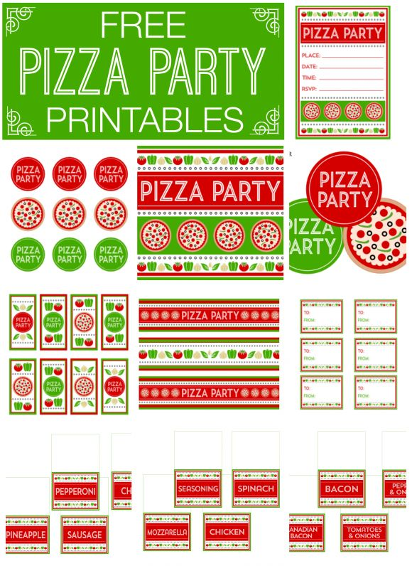 A free pizza party printable set including a sign, invitations, tented food cards, banner, cupcake toppers, gift tags and water bottle labels! These would work great at a birthday party, football party, or family party or get-together!