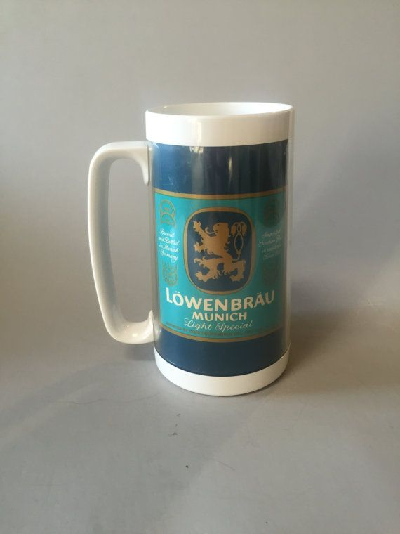 LOWENBRAU BEER MUG, Thermo serv mug,large beer mug,plastic outdoor mug,Blue beer mug,gift for dad,vintage advertising mug,promo mug