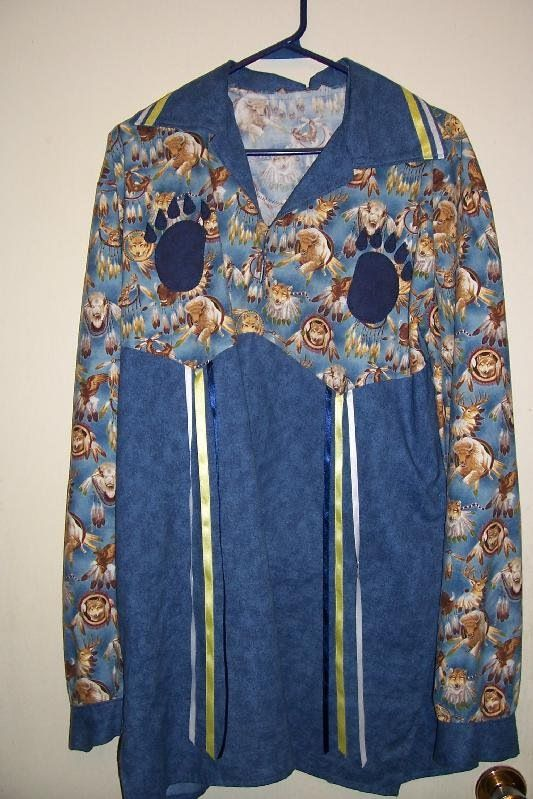 Ribbon shirt: bear paw, thunderbird, medicine wheel appliqué, men's large