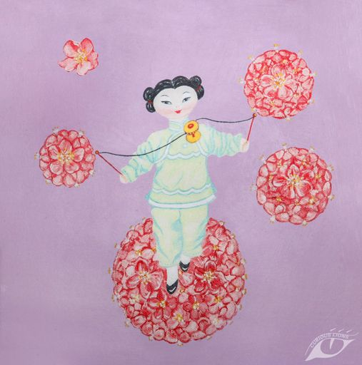 I Love to Spin. Chinese doll spinning cherry blossom, available at www.curiouslions.com. #chinesedoll