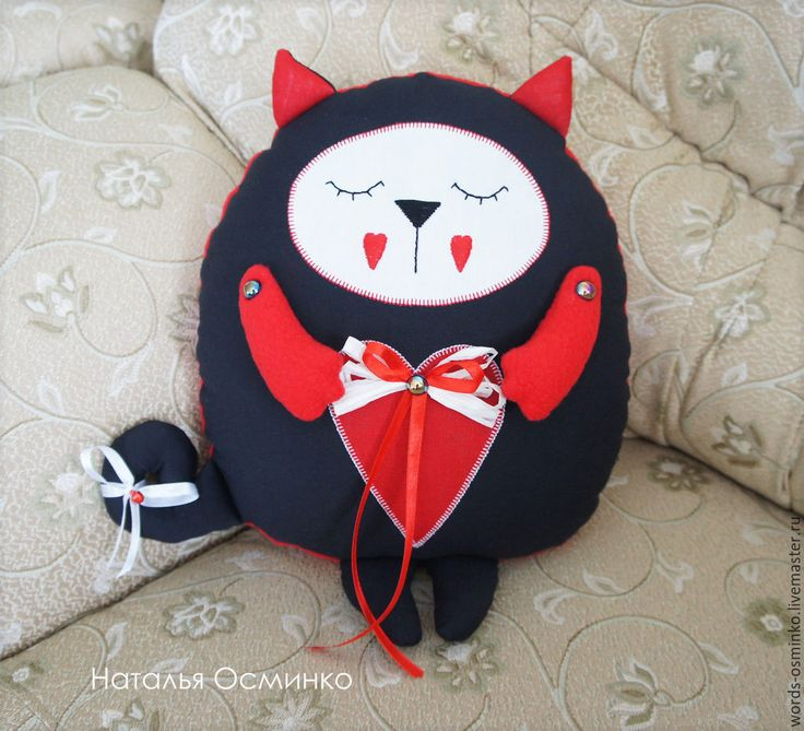 Купить Подушка Кот-сплюшка - ярко-красный, кот-сплюшка, подушка кот, кот