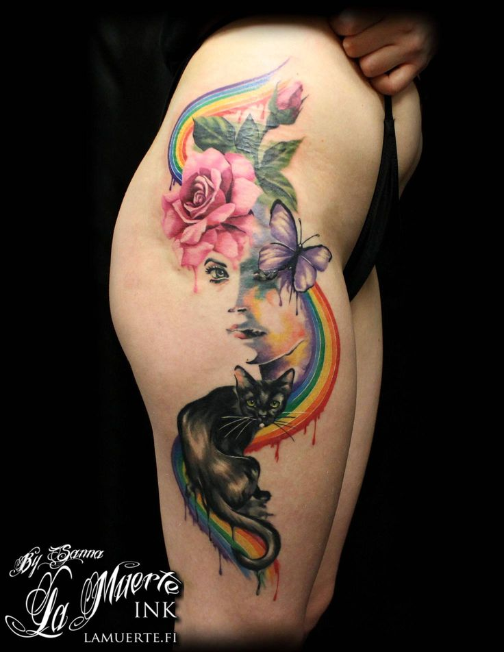 Cat, woman, butterfly, rose and rainbow tattoo by Sanna ...