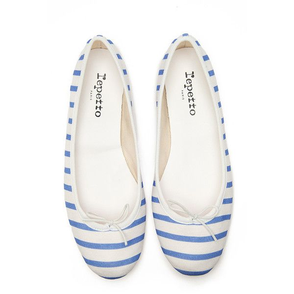 Repetto BB Striped Ballet Flat ($83) ❤ liked on Polyvore featuring shoes, flats, zapatos, repetto shoes, stripe shoes, ballerina pumps, ballet flats and blue and white striped shoes