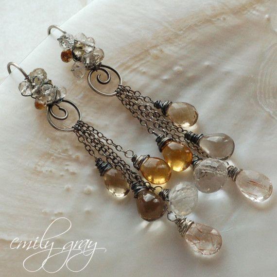 FABIENNE Fabulous Long Oxidized Silver Tassel Earrings featuring Gold Rutilated Quartz, Rock Crystal, Smooth Smokey Quartz, Citrine, Champagne Quartz by Emily Gray