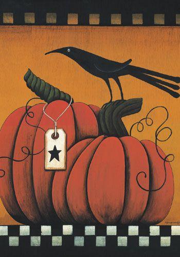 Country Primitive Fall Pumpkins Crow Garden Flag 12 X 18 By Custom Decor,