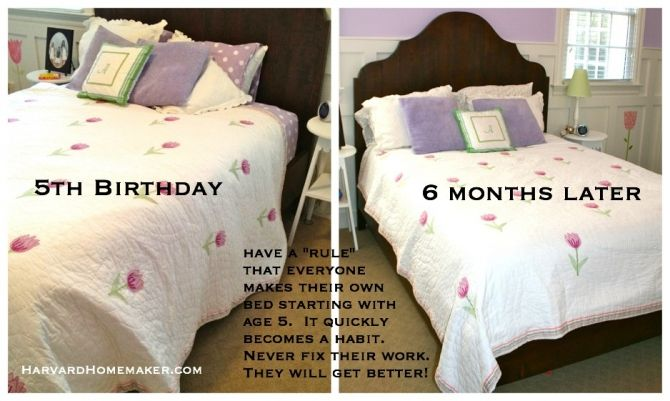 Starting with age 5, have a family rule that your child makes their bed every day--and then don't fix their work. This post has 100+ ideas to help you tame the chaos in your home (and your life)--this is just one tip! #organize #harvardhomemaker