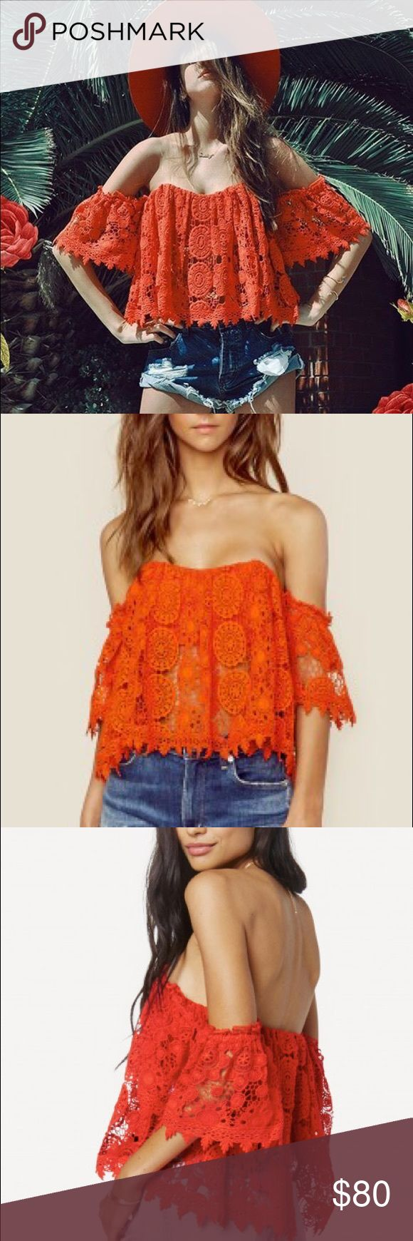 Tularosa Amelia red lace top Plastic bodice boning. Lace fabric. Hidden back zipper closure. Brand new tags attached. Perfect for Coachella, spring break. You name it! A must have piece! Hand wash care. Tularosa Tops
