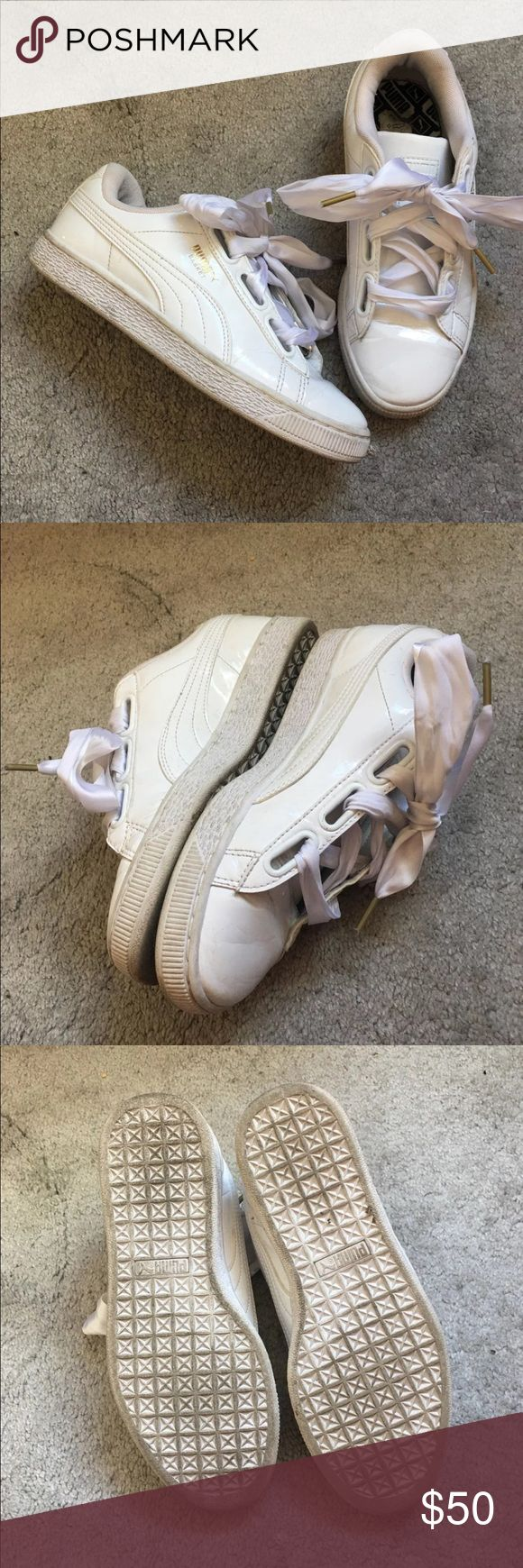 PUMA Basket Sneakers Gently worn a few times, there's creasing in the toe from wear. Please ask any questions before purchasing. Puma Shoes Sneakers