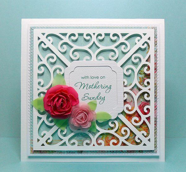 FREE SVG swirl frame 1 card this example is set up as a Mothers' Day card but the sentiment is up to you!