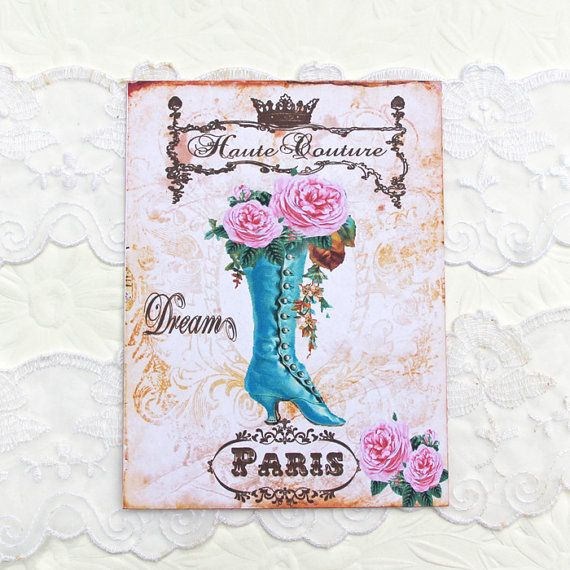 Note Cards Paris Vintage Boot Birthday French by EnchantedQuilling