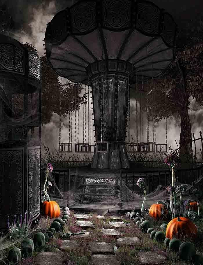 Abandoned Amusement Park For Halloween Photography Backdrop J-0238 - halloween backdrop