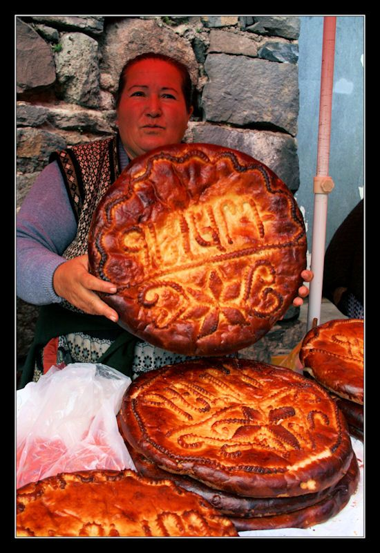 """Armenian gata cake - A bit reminiscent of """"King Cake"""" – popular among Mardi Gras or Carnival celebrants who search for the one small trinket while eating that pastry – a feature of the gata Tiarn 'ndaraj experience is that a coin (or bead or button) is baked inside, portending good fortune to the one who finds it."""