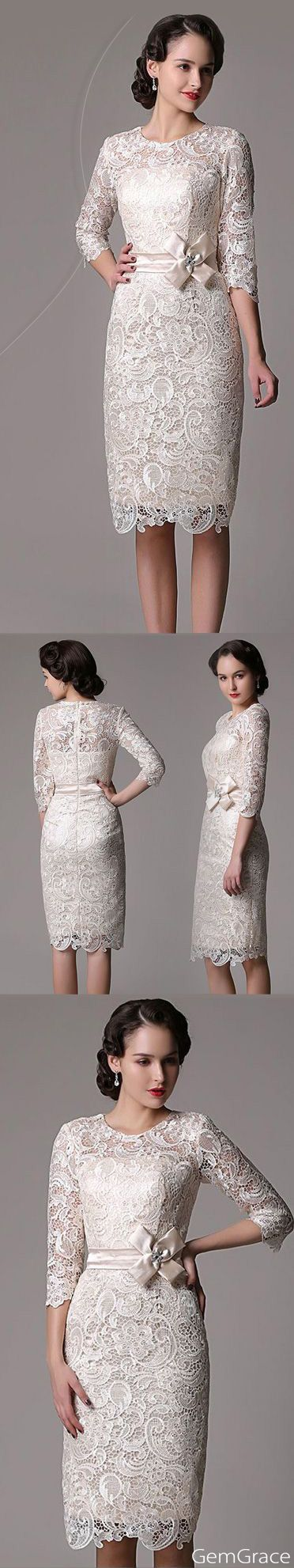 Elegant lace sleeve dress. With trendy 3/4 sleeve design, it is nice for mother of the bride or groom too. One fab dress is loved by many many women. Custom color or size is free at GemGrace.com