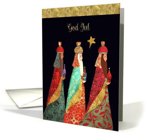 Merry Christmas in Swedish, God Jul, Three Magi, card