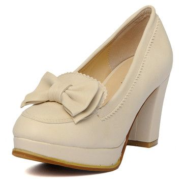 Bow-Accent Platform Pumps – Heels / Pumps | yeswalker | Free worldwide shipping on every order
