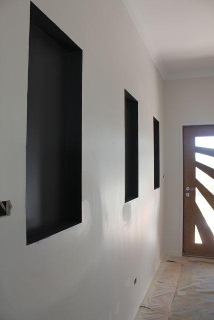 Dark Grey wall niche dulux leadman Living Room Ideas