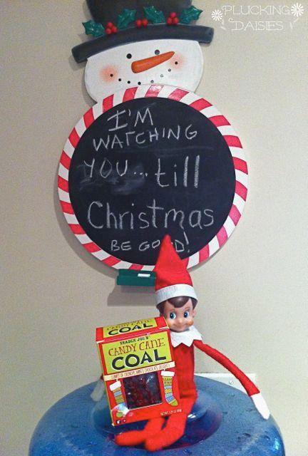 Elf on the Shelf ideas - warning coal