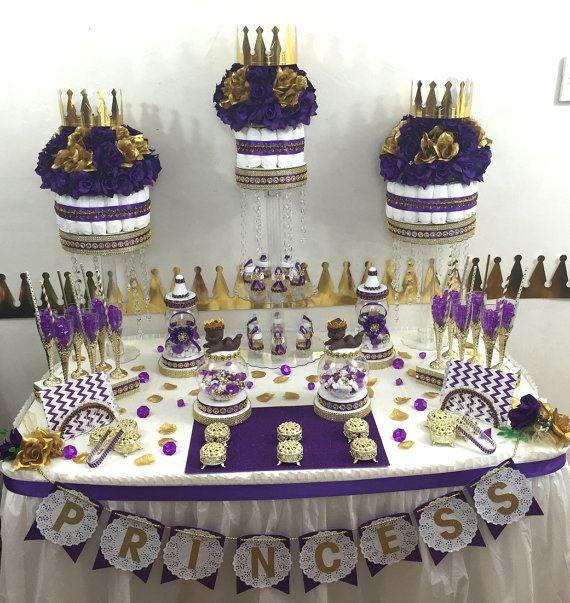 Purple Amp Gold Prince Princess Candy Buffet Diaper Cake