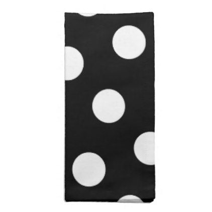 Large White Polka Dot Pattern - Custom Color Black Napkin - unusual diy cyo customize special gift idea personalize