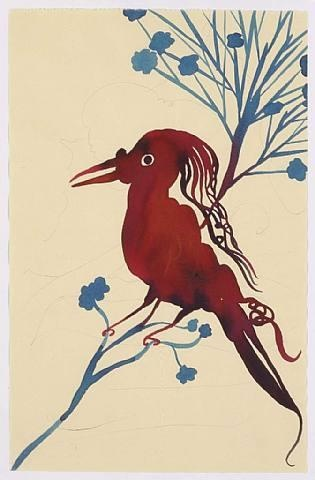 Chris Ofili Bird In this work I can tell the artist has used the material of indian ink which works well with the flowing effect