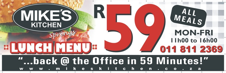 Mikes Kitchen Springs Lunch Specials - Back at the office in 59 minutes!