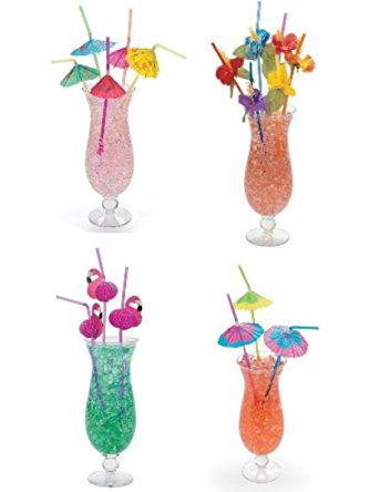 4 Dozen Assorted Tropical Drinking Straws Luau Wedding Hawaiian Umbrella Flamingo Flower by Oriental Trading ❤ OTC