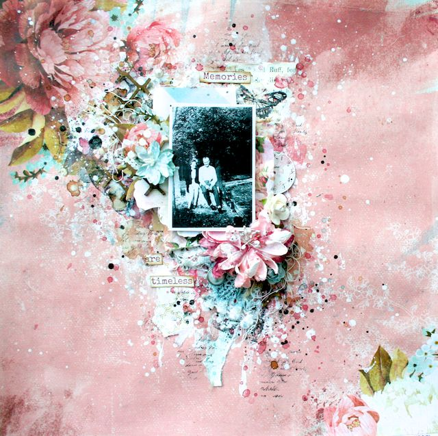 Scraps of Elegance scrapbook kits: Lisa Griffith created this gorgeous heritage / vintage mixed media layout featuring a black and white photo with our January Adore kit. Subscribe to our kits and receive a new box of mixed media scrapbooking fun delivered to you each month! www.scrapsofdarkness.com