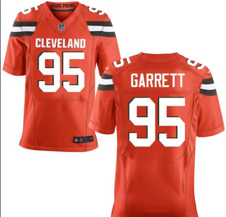 464a099b8 ... Mens Cleveland Browns 95 Myles Garrett Orange Nike NFL Elite Jersey ...