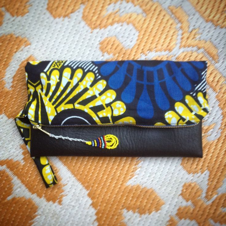 Fold Over Clutch Bag - Blue+Yellow African Makoti Wax Print with Black Faux Leather Trim - Bridesmaid's Gift - (BYBL5) by ChangNoii on Etsy