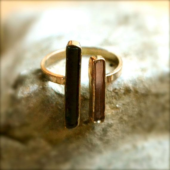 Gold Black And Pink Tourmaline Ring Sterling Silver Gold Vermeil on Etsy, $48.00