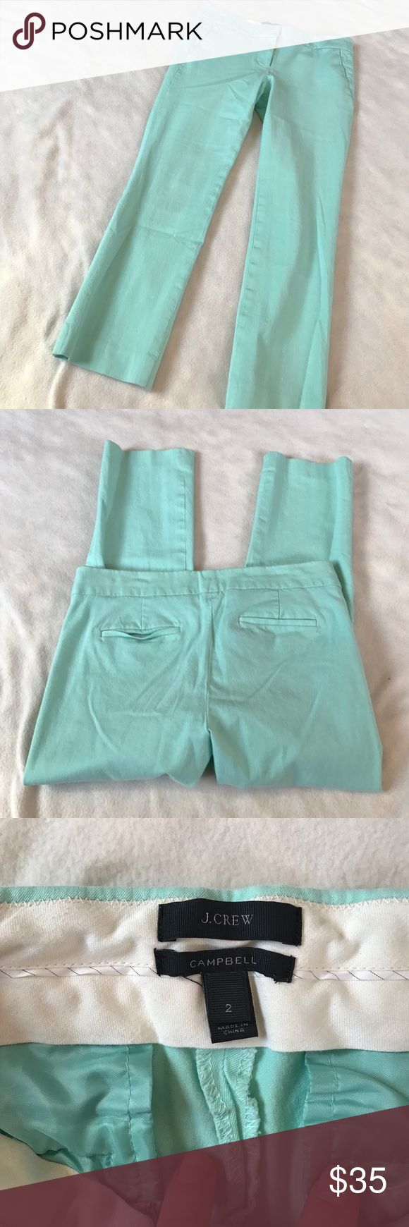 """J Crew Mint Campbell Capri Pant 24.5"""" inseam. Campbell Capri pant in stretch cotton. Sits just above hip, cropped straight leg. Perfect amount of stretch. Excellent condition. Soft mint color, model is wearing same style just different color. Bundle 2 or more items for a discount J. Crew Pants Ankle & Cropped"""