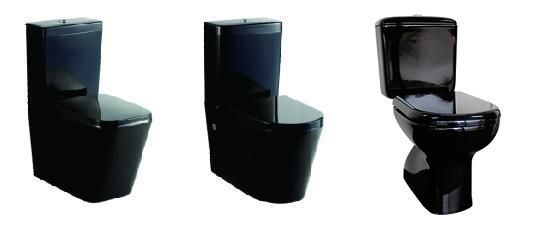 Black in the modern bathroom. Make a bold statement.See our range of black toilet suites we can supply: Square style Black Gloss Ceramic Back to Wall Soft Close seat P or S Trap toilet  Round style Black Gloss Ceramic Back to Wall Soft Close seat P or S Trap toilet  Liwa Black Gloss Ceramic Closed Coupled S Trap Toilet Suite. Enquire from Bathrooms and Kitchens Builders Express Underwood, website www.bathroomsnkitchens.com.au