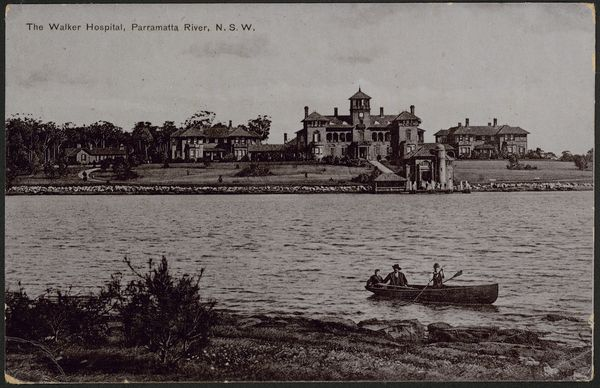 Thomas Walker Convalescent Hospital on the banks of the Parramatta River in about 1905.  In his will, Thomas Walker [1804-1886] set aside  £100,000  for the building and maintenance of a free convalescent hospital on 12 hectares of his estate at Rocky Point, Concorde. The hospital was designed by John Sulman and completed in 1893. It operated as a convalescent hospital until 1979.  Over 70,000 patients convalesced at the hospital, including servicemen from the 1914-18 and 1939-45 World Wars.