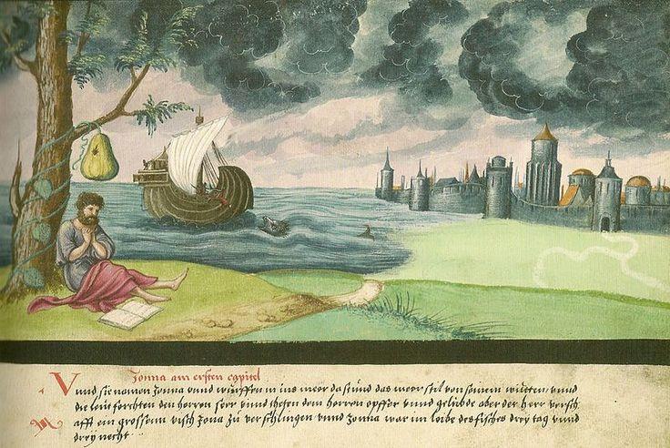 """Augsburger Wunderzeichenbuch — Folio 14 """"Jonas und der Wal"""""""