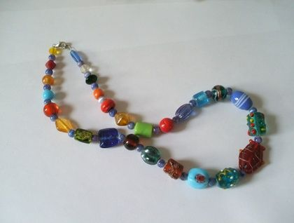 Multicoloured glass lolly necklace