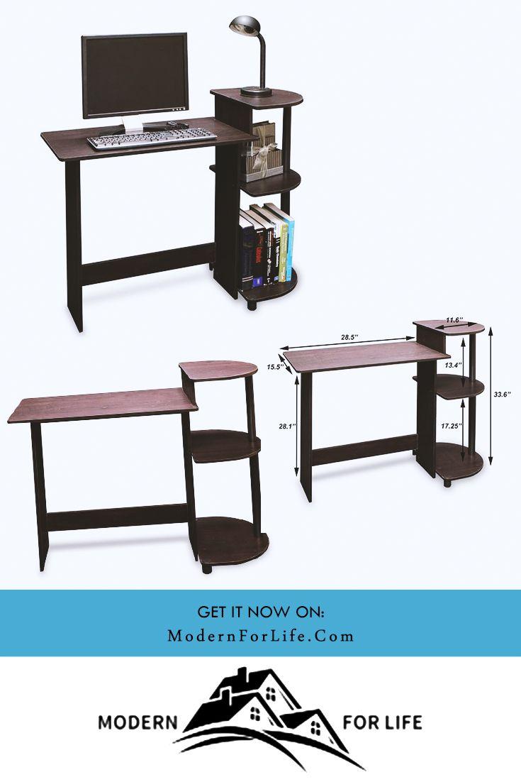 Simple Compact Computer Desk In Espresso Black Finish Computer Desk Design Compact Computer Desk Computer Desk