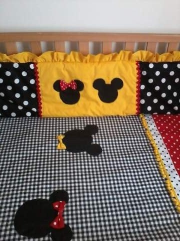 Mickey and Minnie Mouse Crib Bumpers. $85.00, via Etsy.