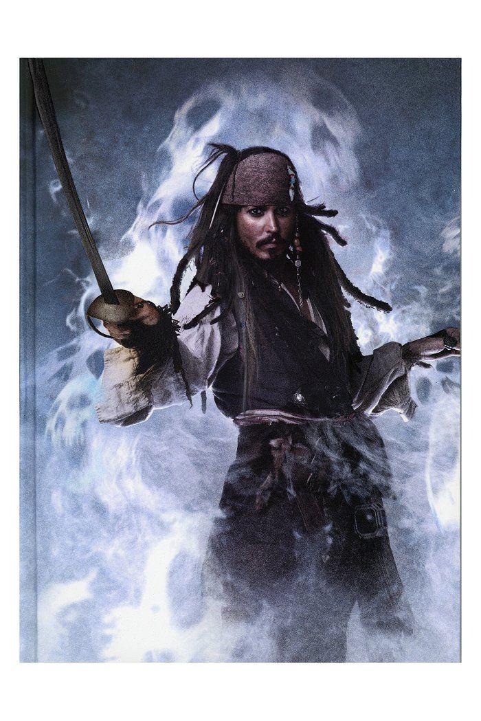 Libreta Los Piratas del Caribe en Mareas Misteriosas. Jack Sparrow, niebla Libreta perteneciente a la popular saga Los Piratas del Caribe en Mareas Misteriosas, con la imagen del personaje principal Jack Sparrow con el fondo de niebla.